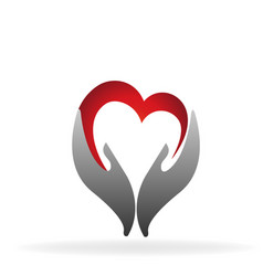 Hands and heart together icon vector