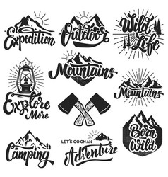 Hiking mountain exploration emblems handwritten vector