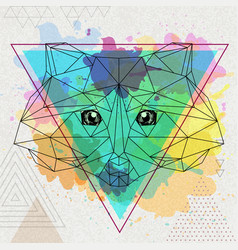 Hipster polygonal animal raccoon on artistic vector