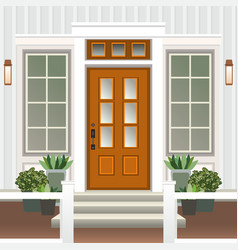 House door front with doorstep and steps porch vector