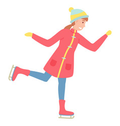 ice skating girl on frozen surface cartoon vector image