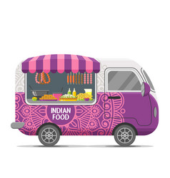 Indian street food caravan trailer vector