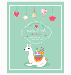 Invitation for baby shower with funny lama vector