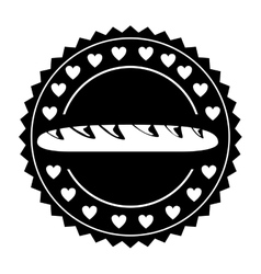 Isolated baguette inside seal stamp design vector image
