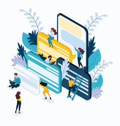 Isometric business concept customer reviews vector