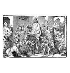 Jesus comes to jerusalem on donkey triumphal as vector