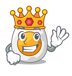 King freshly boiled egg isolated on mascot cartoon vector