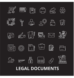 legal documents editable line icons set on vector image