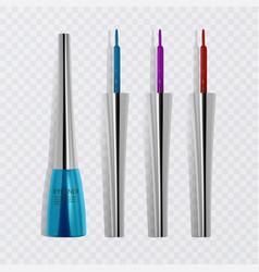 Liquid eyeliners set of bright colorful eyeliners vector