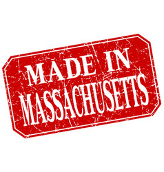 Made in massachusetts red square grunge stamp vector