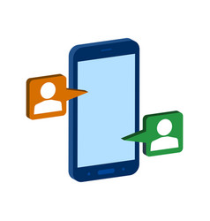 Mobile chatting symbol flat isometric icon or vector