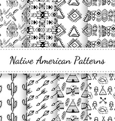 Native American Seamless Patterns Set vector image