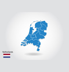 netherlands map design with 3d style blue vector image