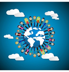 People - Women Holding Hands Around Globe on Blue vector image