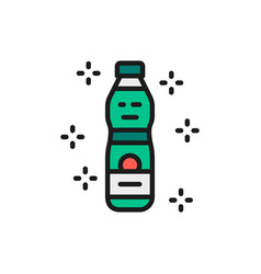 plastic water bottle flat color line icon vector image