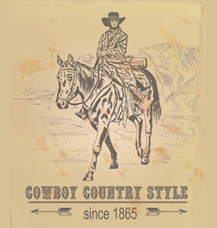 Postcard with a cowboy in the mountains vector
