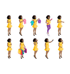 quality isometry 3d pregnant african american vector image