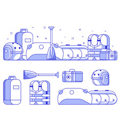 rafting and boating equipment icons vector image