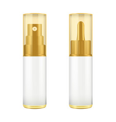 Realistic brown and white bottle with golden lid vector