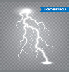 Realistic lightning on transparent background vector