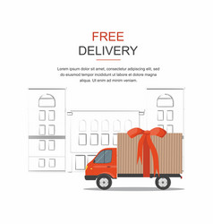 red cargo delivery isolated on city background vector image
