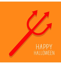 Red evil trident Happy Halloween card Flat design vector