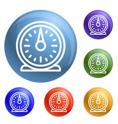 retro kitchen timer icons set vector image