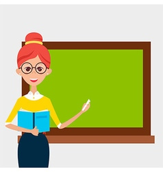 School Teacher with Glasses and Book and Empty vector