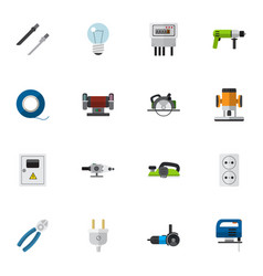 Set of 16 editable instruments flat icons vector
