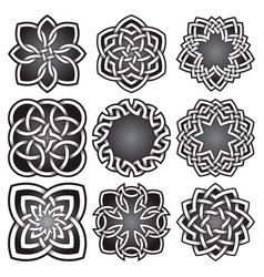 set of logo symbols in celtic knots style vector image