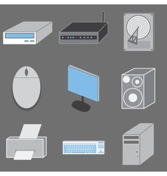 Set of nine computer-tematic icons vector image