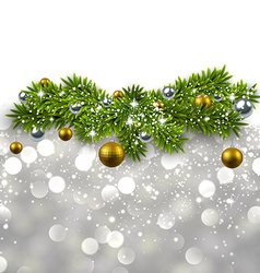 Silver background with fir branches vector image