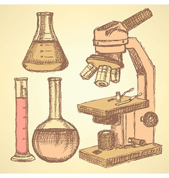 Sketch scientific set in vintage style vector