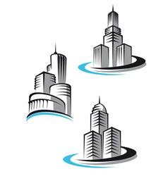skyscrapers symbols vector image