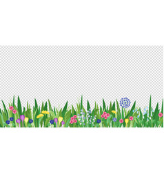 spring garden grass and flowers border cartoon vector image
