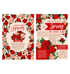 spring holiday greeting banner of blooming flower vector image