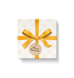 Square gift box gold color bow knot and ribbon vector