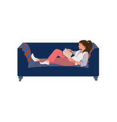 Student girl in home clothes lay on sofa and vector