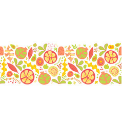 summer fruits and leaves seamless border vector image