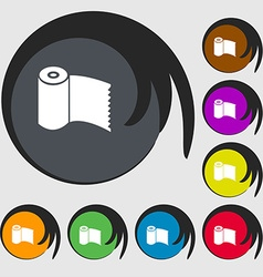 Toilet paper WC roll icon sign Symbols on eight vector
