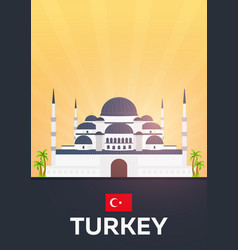 Travel poster to turkey flat vector