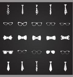 trendy accessories tie bow eye glasses set on vector image