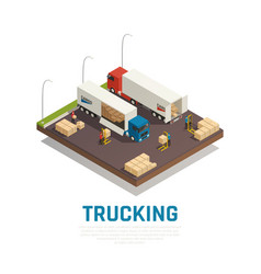 Trucking isometric composition vector