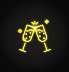 two champagne glasses clink glowing neon icon vector image