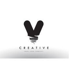 v brushed letter logo black brush letters design vector image
