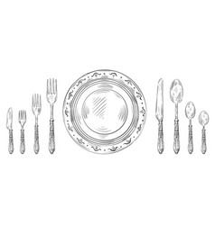 vintage table setting hand drawn dinner knife vector image