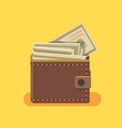 wallet with dollars vector image