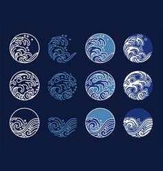 Water and ocean wave line art logo oriental vector