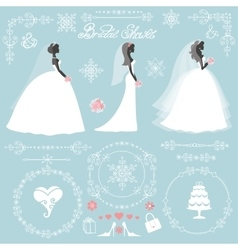 Wedding bridal shower winter decor set vector