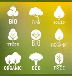 White tree organic eco bio logo set vector